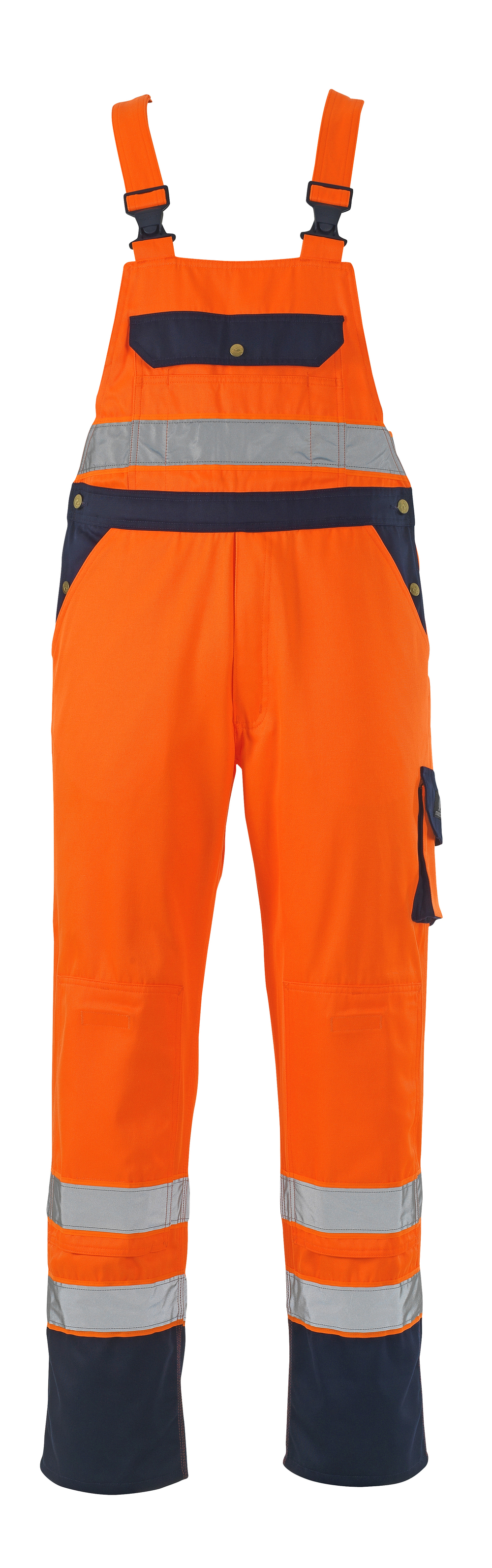 00969-860-141 Salopette avec poches genouillères - Hi-vis orange/Marine