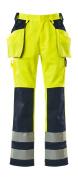 09131-470-171 Pantalon avec poches genouillères et poches flottantes - Hi-vis jaune/Marine