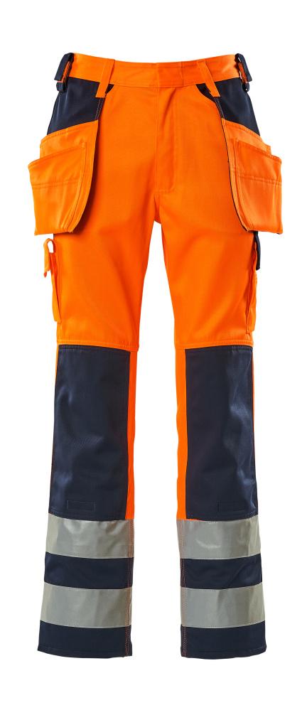 09131-860-141 Pantalon avec poches genouillères et poches flottantes - Hi-vis orange/Marine
