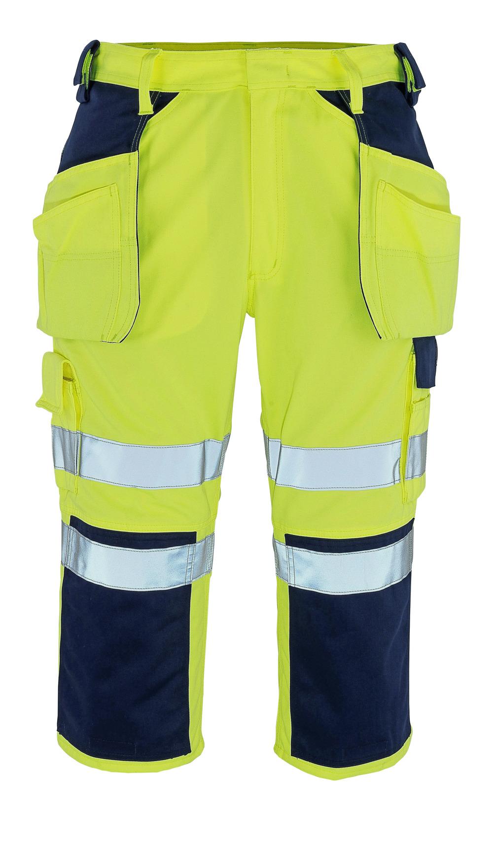 09149-470-171 Pantacourt avec poches genouillères et poches flottantes - Hi-vis jaune/Marine