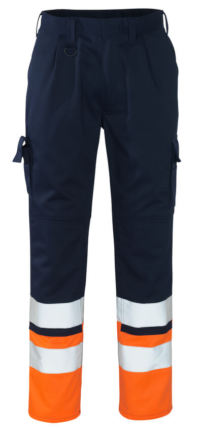 12379-430-0114 Pantalon avec poches genouillères - Marine/Hi-vis orange