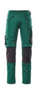 13079-230-0309 Pantalon avec poches genouillères - Vert bouteille/Noir