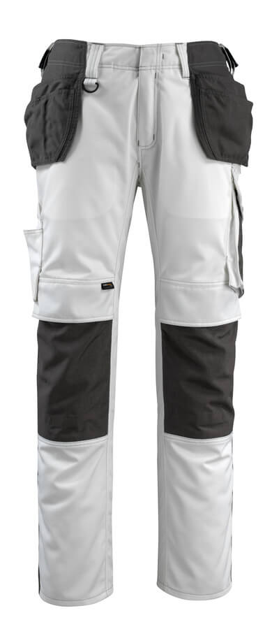 14031-203-0618 Pantalon avec poches genouillères et poches flottantes - Blanc/Anthracite foncé