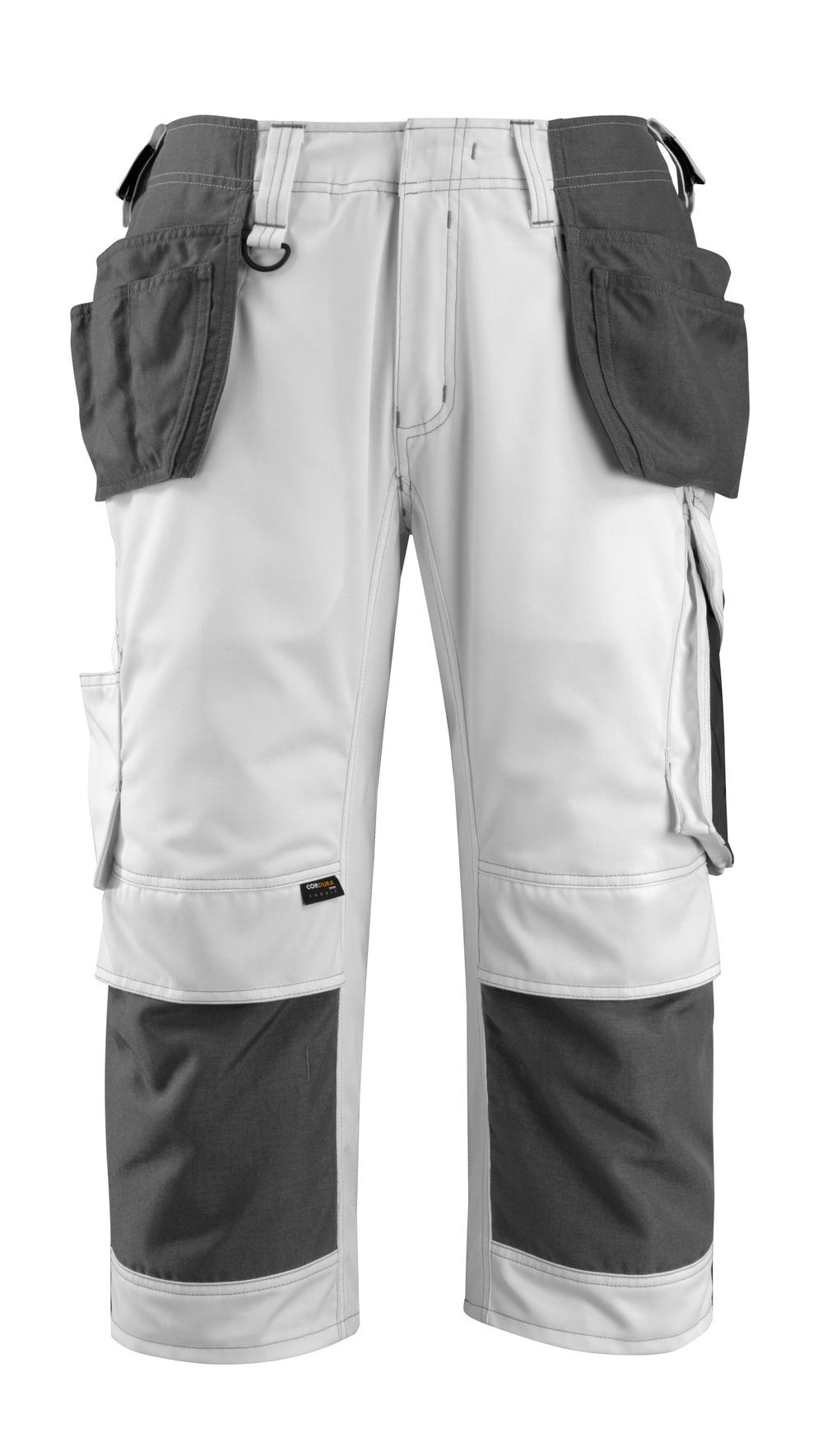 14349-442-0618 Pantacourt avec poches genouillères et poches flottantes - Blanc/Anthracite foncé