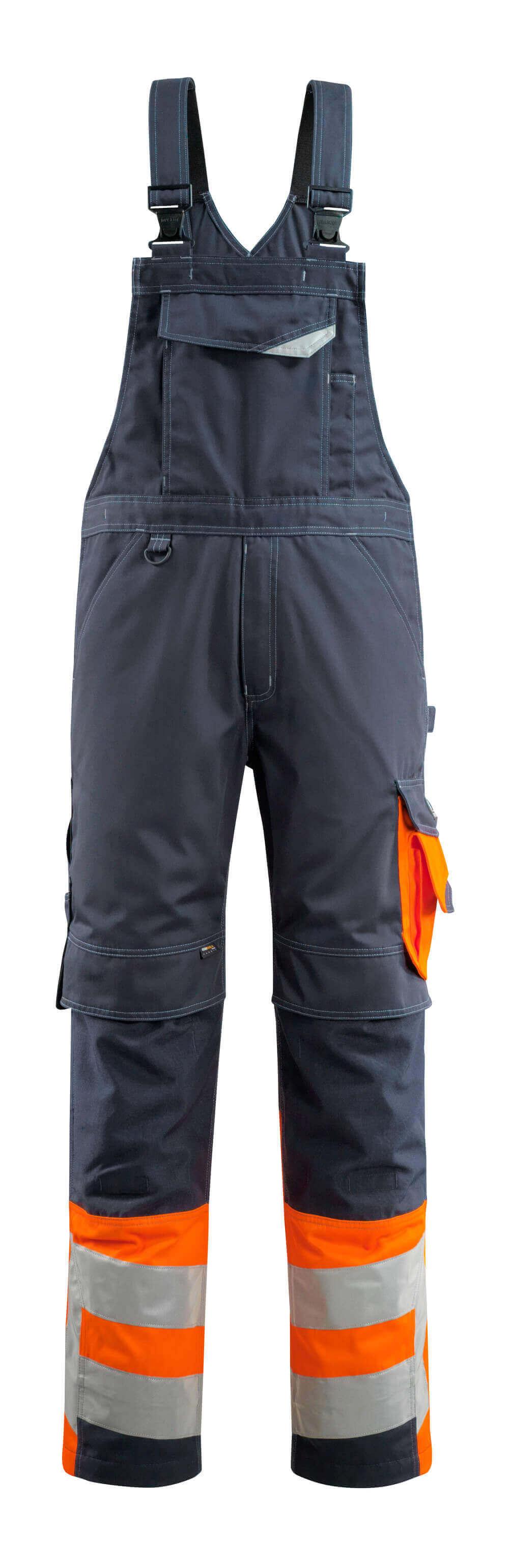 15669-860-01014 Salopette avec poches genouillères - Marine foncé/Hi-vis orange