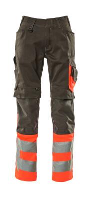 15679-860-01014 Pantalon avec poches genouillères - Marine foncé/Hi-vis orange
