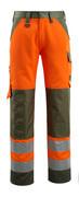 15979-948-1433 Pantalon avec poches genouillères - Hi-vis orange/vert mousse