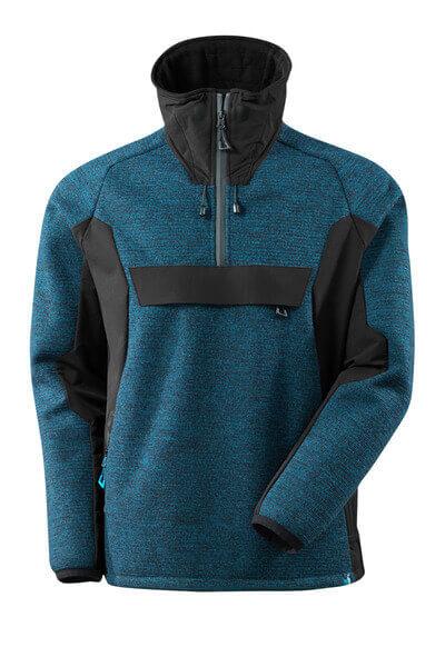 17005-309-01009 Veste tricot demi-zippé - Marine foncé/Noir