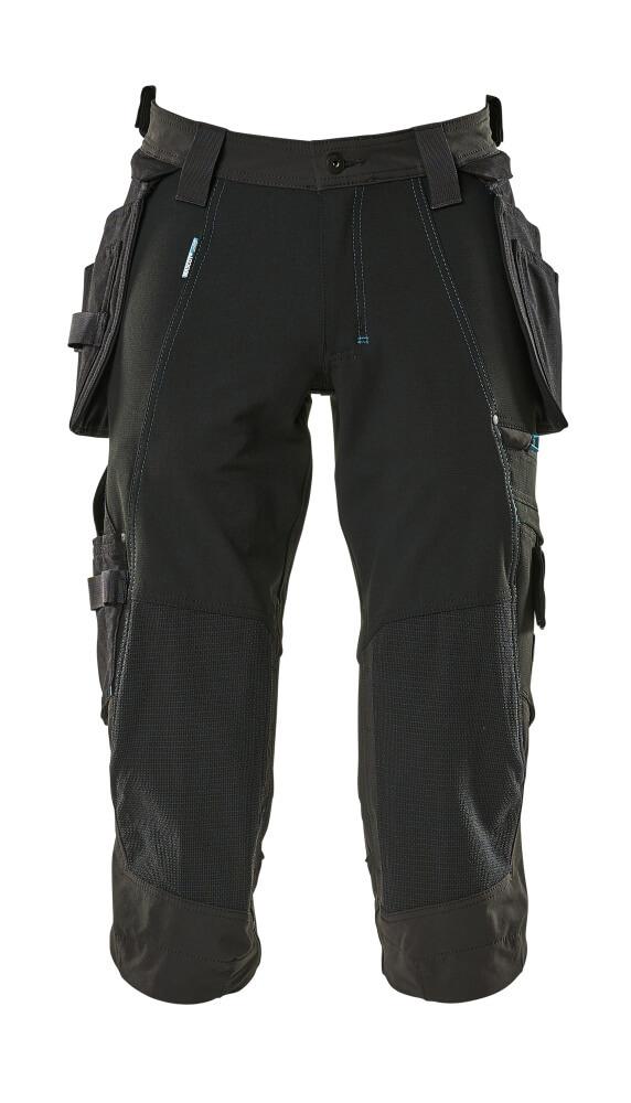 17049-311-09 Pantacourt avec poches genouillères et poches flottantes - Noir