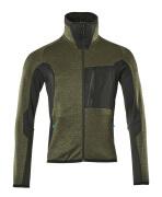 17103-316-3309 Pull polaire zippé - vert foncé/noir