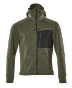 17384-319-3309 Sweat capuche zippé - vert foncé/noir