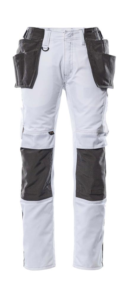 17631-442-0618 Pantalon avec poches genouillères et poches flottantes - Blanc/Anthracite foncé