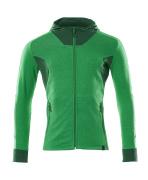 18584-962-33303 Sweat capuche zippé - vert gazon/vert bouteille