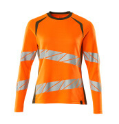 19091-771-1433 T-shirt, manches longues - Hi-vis orange/vert mousse