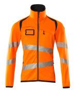 19103-315-14010 Pull polaire zippé - Hi-vis orange/Marine foncé
