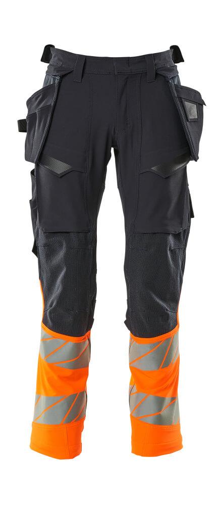 19131-711-01014 Pantalon avec poches flottantes - Marine foncé/Hi-vis orange