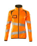 19153-315-1433 Pull polaire zippé - Hi-vis orange/vert mousse