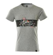 19182-965-08222 T-shirt - Gris chiné/Hi-vis rouge