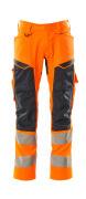 19579-236-14010 Pantalon avec poches genouillères - Hi-vis orange/Marine foncé