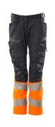 19678-236-01014 Pantalon avec poches genouillères - Marine foncé/Hi-vis orange