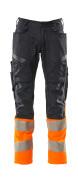 19679-236-01014 Pantalon avec poches genouillères - Marine foncé/Hi-vis orange