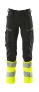 19879-711-01017 Pantalon avec poches genouillères - Marine foncé/Hi-vis jaune