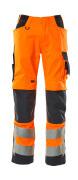 20879-236-14010 Pantalon avec poches genouillères - Hi-vis orange/Marine foncé