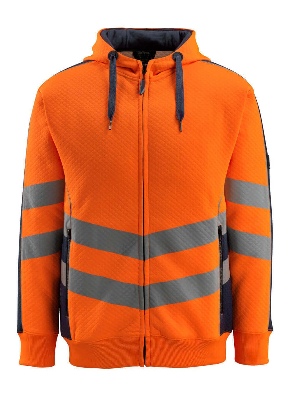 50138-932-14010 Sweat capuche zippé - Hi-vis orange/Marine foncé