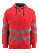 50138-932-22218 Sweat capuche zippé - Hi-vis rouge/Anthracite foncé