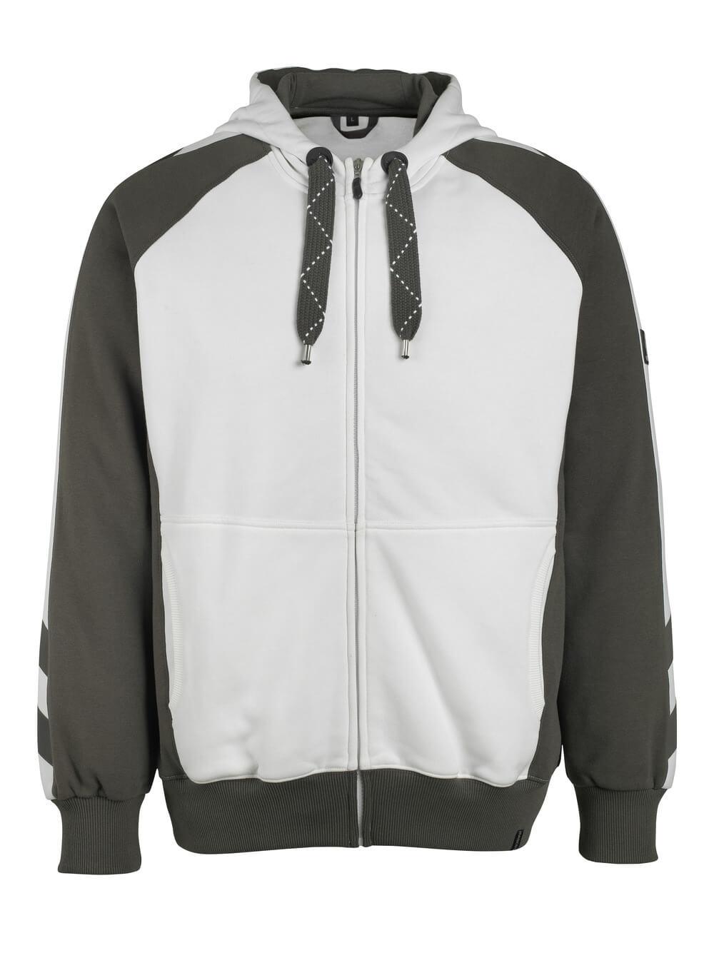 50509-811-0618 Sweat capuche zippé - Blanc/Anthracite foncé