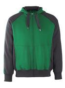 50566-963-0309 Sweat capuche zippé - Vert bouteille/Noir